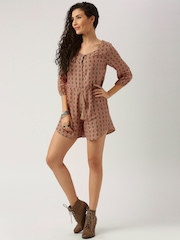 All About You from Deepika Padukone Brown Printed Playsuit