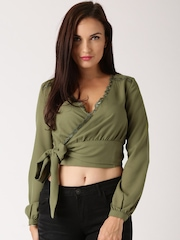 All About You from Deepika Padukone Olive Green Tie-Up Crop Top