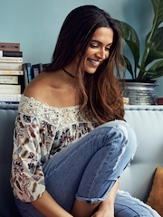 All About You from Deepika Padukone Off-White Floral Print Top