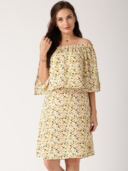 All About You from Deepika Padukone Multicoloured Printed Off-Shoulder Dress