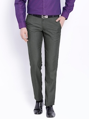 Black Coffee Charcoal Grey Regular Fit Formal Trousers