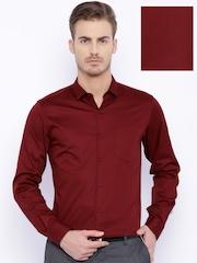 Black Coffee Maroon Slim Fit Formal Shirt