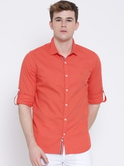 United Colors of Benetton Coral Orange Casual Shirt