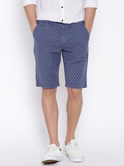 United Colors of Benetton Blue Printed Linen Slim Shorts