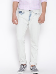 United Colors of Benetton Off-White Washed Effect Slim Jeans