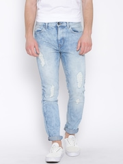 United Colors of Benetton Blue Distressed Slim Straight Jeans