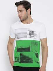 United Colors of Benetton White Printed Colourblocked T-shirt