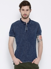 United Colors of Benetton Navy Washed Polo T-shirt