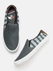 Kook N Keech Men Grey Striped Slip-Ons