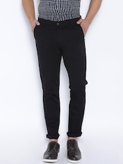 Highlander Black Slim Fit Casual Trousers
