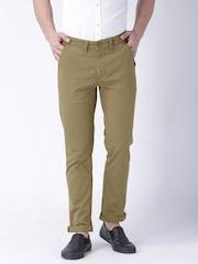 "Moda Rapdio Brown Slim Fit Trousers- Stretch fabric- Mobile (upto 6.2"") Phone Pocket"