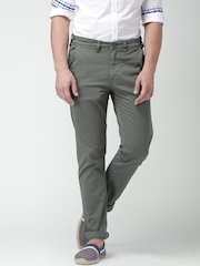 """Moda Rapido Grey Slim Fit Chino Trousers With Mobile (upto 6.2"""") Phone Pocket"""