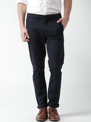 """Moda Rapdio Navy Slim Fit Casual Trousers  With Mobile (upto 6.2"""") Phone Pocket"""