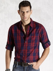 Roadster Navy & Red Checked Casual Shirt