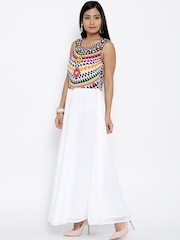BIBA White Printed Maxi Dress