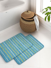 House This Blue Set of 2 Cotton Striped Rectangular Bath Rugs