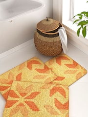 House This Yellow & Orange Set of 3 Patterned Cotton Rectangular Bath Rugs
