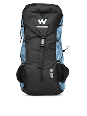 Wildcraft Unisex Black & Blue Printed Cliff 45 Rucksack