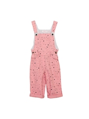 My Little Lambs Girls Pink Printed Dungarees