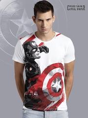 Kook N Keech Marvel White Civil War Print T-shirt