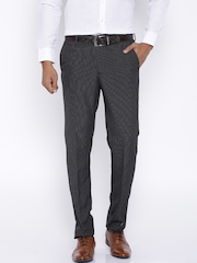 Vercelli Black Formal Striped Trousers