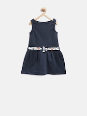 United Colors of Benetton Girls Navy A-Line Dress with Belt