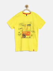 United Colors of Benetton Girls Yellow Printed T-shirt