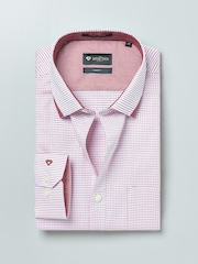 INVICTUS White & Red Checked Slim Fit Formal Shirt
