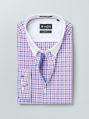 INVICTUS Pink & Blue Checked Slim Fit Formal Shirt