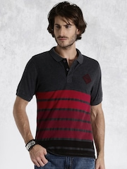 Roadster Charcoal Grey & Maroon Striped Polo T-shirt