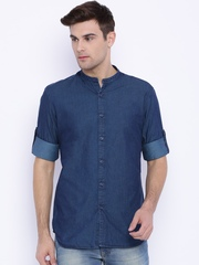 Parx Blue Denim Slim Fit Casual Shirt