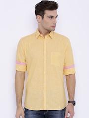 Parx Yellow Slim Fit Casual Shirt