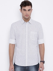 Parx White Printed Slim Fit Casual Shirt
