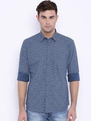 Parx Blue Printed Slim Casual Shirt