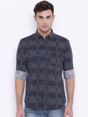 Parx Navy Printed Slim Fit Casual Shirt
