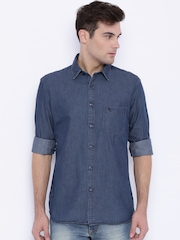 Parx Blue Denim Slim Casual Shirt