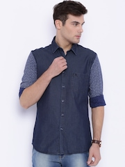 Parx Navy Denim Casual Shirt