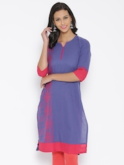 Aurelia Blue Woven Design Kurta