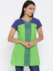Aurelia Lime Green Woven Design A-Line Kurti