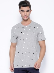 Parx Grey Melange Printed T-shirt