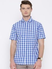 John Players Blue & White Checked Trim Fit Casual Shirt
