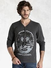 Roadster Charcoal Grey Printed T-shirt