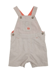 mothercare Boys Beige Striped Dungrees with Polo T-shirt