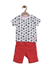 mothercare Boys White & Red Printed Clothing Set