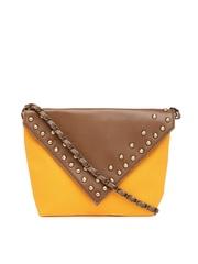 Kanvas Katha Brown & Yellow Studded Sling bag