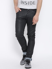 John Players Charcoal Grey Panelled Super-Skinny Jeans