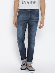 John Players Blue Low-Rise Washed Super-Skinny Jeans