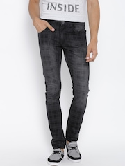 John Players Black Check Print Washed Super-Skinny Jeans