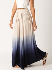 All About You by Deepika Padukone Beige & Navy Ombre Crinkled Cotton Maxi Skirt