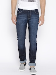John Players Navy Low-Rise Washed Slim Jeans